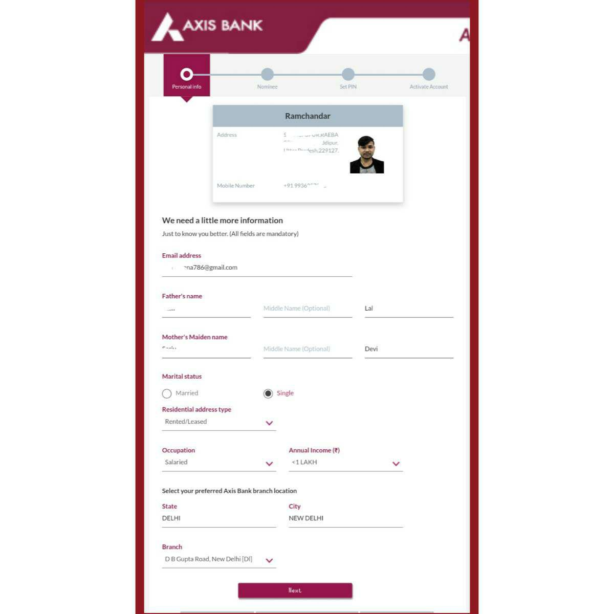 Axis Bank Asap Account Opening Online in Hindi