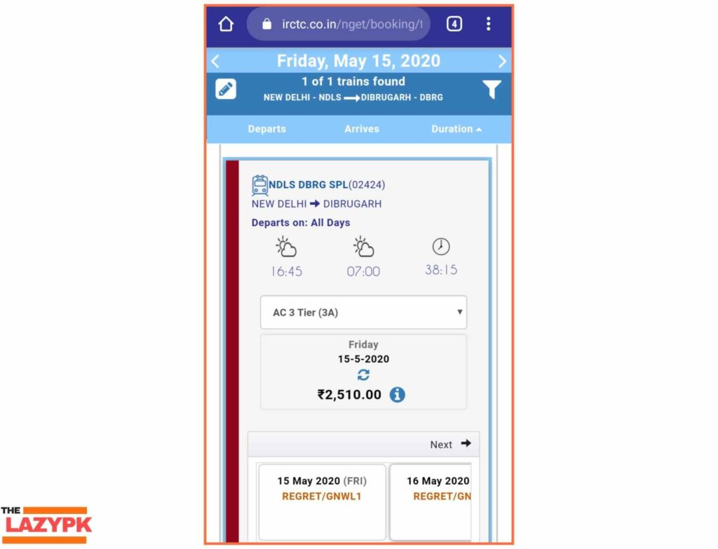 Special Train Ticket Booking